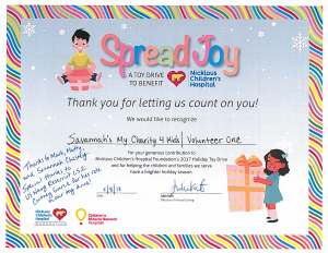 Toy Drive Certificate